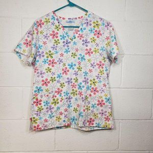 SB Scrubs White Floral Top Pink Blue Purple Green